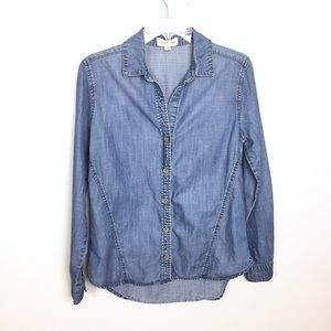 CLOTH & STONE Denim Chambray Button Down Shirt S